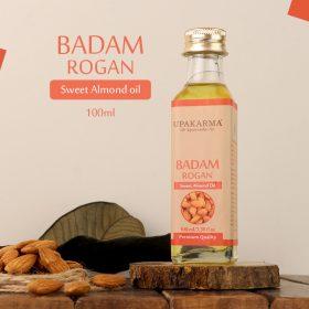 badam rogan oil, upakarma ayurveda, sweet almond oil