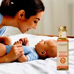 badam rogan oil, sweet almond oil, upakarma ayurveda