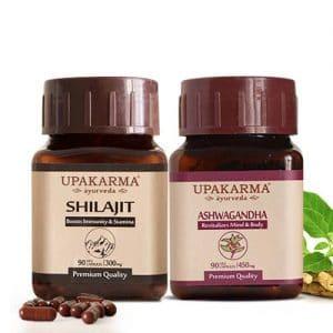 shilajit capsules, ashwagandha capsules, upakarma ayurveda
