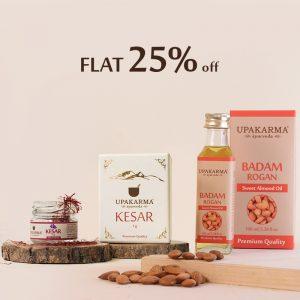 badam rogan oil, kesar, saffron, sweet almond oil, upakarma ayurveda