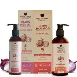 onion oil, onion shampoo, upakarma ayurveda, hair oil, hair shampoo