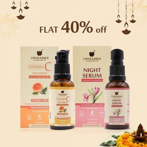 vitamin c face serum, night serum, upakarma ayurveda