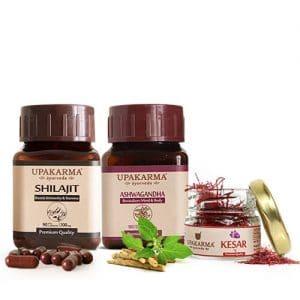 shilajit capsules, ashwagandha capsules, kashmiri kesar, saffron, upakarma ayurveda