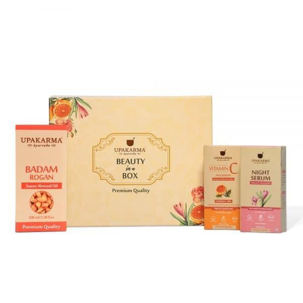 vitamin c face serum, gift box, night serum, badam rogan oil, upakarma ayurveda