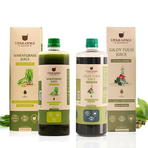 wheatgrass juice, giloy tulsi juice