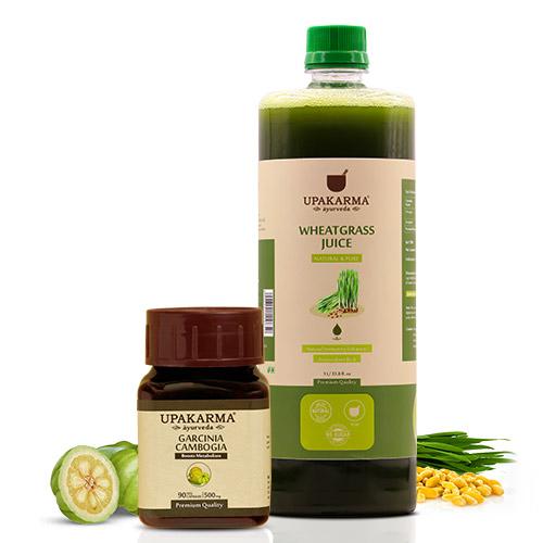 garcinia capsules, wheatgrass juice